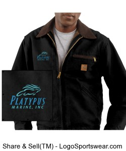 Mens Platypus Marine, Carhartt Duck Detroit Jacket, Blanket Lined Design Zoom