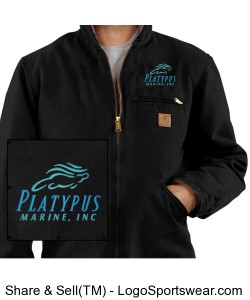 Mens Platypus Marine Carhartt (Regular and Tall Sizes Available) Sandstone Sierra Jacket with Design Zoom