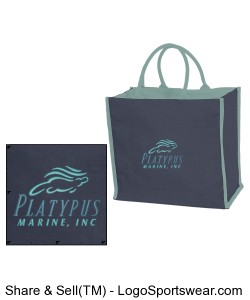 Platypus Marine Embroidered Jute Tote Bag with Cotton Lining Design Zoom