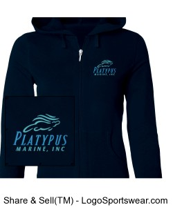 Womens Platypus Marine Full Zip French Terry Hooded Jacket Slim Fit Design Zoom