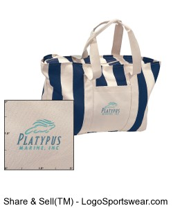 Platypus Marine Large Stripped Canvas Tote Design Zoom